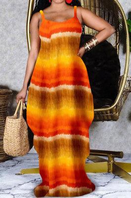 Yellow Women Printing Loose Pocket Condole Belt Long Dress PH1233-1