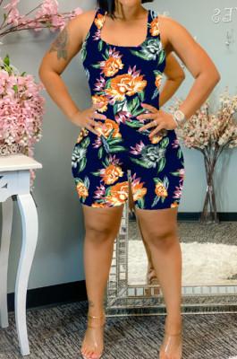 Orange Summer Casaul Positioning Print Tank Slim Fitting Romper Shorts WA77217-1