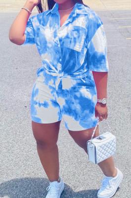 Blue Tie Eye Print Short Sleeve Lapel Neck Single-Breasted Shirt Shorts Two-Piece WA77209-3