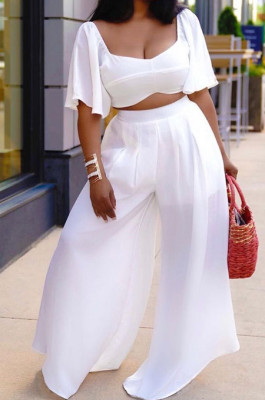 White New Wholesal Loose Sleeeve Strapless Wide Leg Pants Solid Color Casual Sets WA7206-6