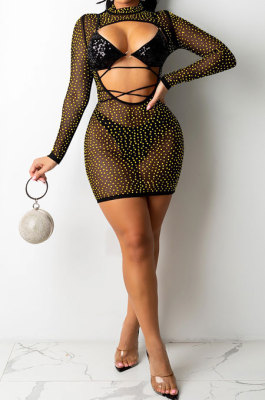 Golden Fashion Euramerican Club Hot Drilling Sequins Mesh Spaghetti Bandage Hollow Out Skirts Sets XZ5288-2