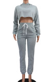 Solid Color Padded And Thickened Casual Sports Pant Suit