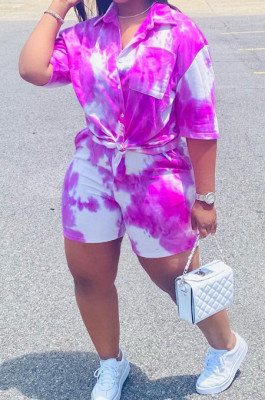 Purple Tie Eye Print Short Sleeve Lapel Neck Single-Breasted Shirt Shorts Two-Piece WA77209-1