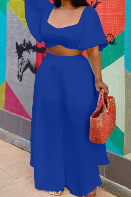Blue New Wholesal Loose Sleeeve Strapless Wide Leg Pants Solid Color Casual Sets WA7206-2