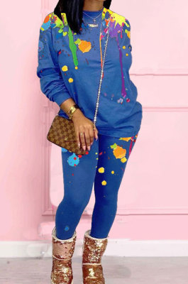 Blue Casual Splash-Ink Printing Long Sleeve Round Neck Jumper Sweat Pants Two-Piece WJ5113-3