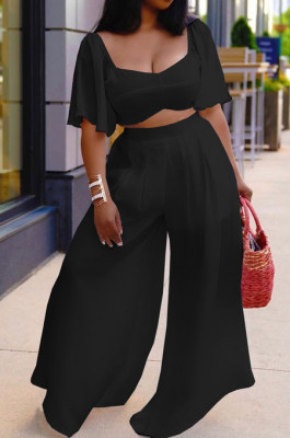 Black New Wholesal Loose Sleeeve Strapless Wide Leg Pants Solid Color Casual Sets WA7206-5