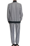 Casual Simplee Gingham Half Sleeve Round Neck Wide Leg Pants Sets HM5401