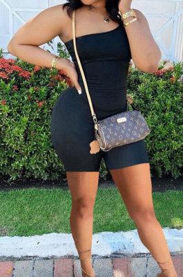 Black Summer Wholesal Oblique Shoulder Slim Fitting Solid Color Romper Shorts YSH6233-2