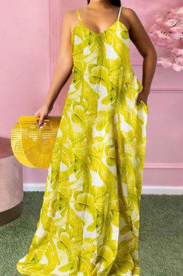 Green Women Fashion Condole Belt Printing Pocket Plus Long Dress PH1235-3