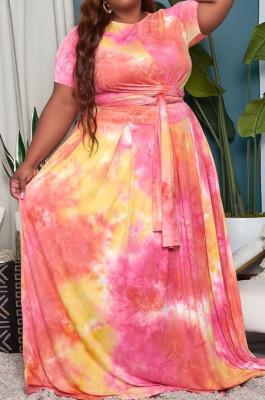 Pink Big Yards Tie Dye Print Short Sleeve Round Neck Bandage Top High Waist Swing Skirts Casual Sets WA7191-4