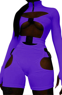 Purple Women Club Wear Hollow Out Solid Color Buckle Long Sleeve Sexy Romper Shorts Q940-3