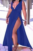 Blue Sexy Wholesal Sleeveless Deep V Neck Personality Slim Fitting Long Dress WA7205-3