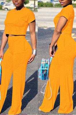 Yellow Euramerican Sexy Women Dew Waist Short Sleeve Pocket Pure Color Pants Sets KF61-1