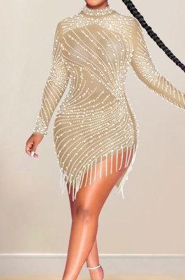 Apricot Night Club Mesh See-Through Hot Drilling Tassel Long Sleeve Round Collar Slim Fitting Mini Dress XZ5216-2