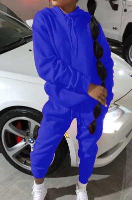 Blue Modest Casual Long Sleeve Hoodie Sweat Pants Solid Color Two-Piece YSH6199-5