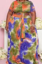 Green Big Yards Tie Dye Print Short Sleeve Round Neck Bandage Top High Waist Swing Skirts Casual Sets WA7191-2