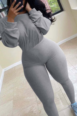 Gray Simple Wholesal Ribber Long Sleeve Round Neck Collcet Waist Pure Color Sport Jumpsuits YSH6183-4