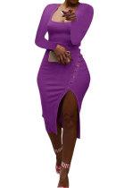 Purple Women Autumn Square Neck Bodycon Sexy Split Solid Color High Waist Mid Dress Q934-5