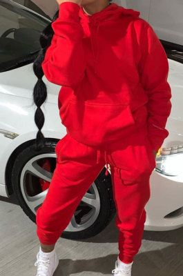 Red Modest Casual Long Sleeve Hoodie Sweat Pants Solid Color Two-Piece YSH6199-2