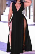 Black Sexy Wholesal Sleeveless Deep V Neck Personality Slim Fitting Long Dress WA7205-2