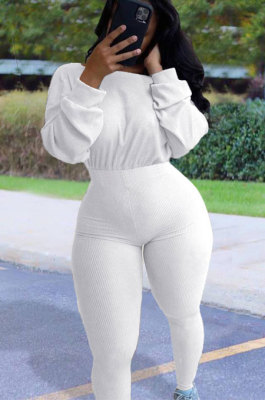White Simple Wholesal Ribber Long Sleeve Round Neck Collcet Waist Pure Color Sport Jumpsuits YSH6183-1
