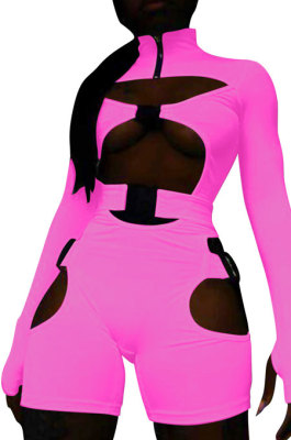 Pink Women Club Wear Hollow Out Solid Color Buckle Long Sleeve Sexy Romper Shorts Q940-2