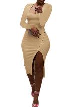 Khaki Women Autumn Square Neck Bodycon Sexy Split Solid Color High Waist Mid Dress Q934-2