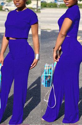 Dark Blue Euramerican Sexy Women Dew Waist Short Sleeve Pocket Pure Color Pants Sets KF61-9