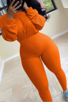 Orange Simple Wholesal Ribber Long Sleeve Round Neck Collcet Waist Pure Color Sport Jumpsuits YSH6183-3