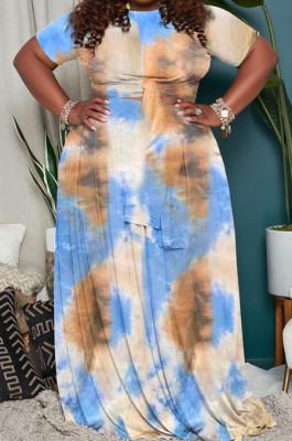 Blue Big Yards Tie Dye Print Short Sleeve Round Neck Bandage Top High Waist Swing Skirts Casual Sets WA7191-1