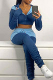 Wholesal New Contrast Color Spliced Long Sleeve Zipper Hoodie Sweat Pants Casual Sets SX05763