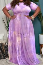 Purple Big Yards Tie Dye Print Short Sleeve Round Neck Bandage Top High Waist Swing Skirts Casual Sets WA7191-3