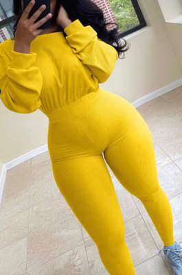 Yellow Simple Wholesal Ribber Long Sleeve Round Neck Collcet Waist Pure Color Sport Jumpsuits YSH6183-5