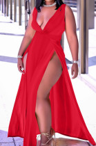 Red Sexy Wholesal Sleeveless Deep V Neck Personality Slim Fitting Long Dress WA7205-1