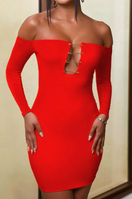 Red Women Sexy Solid Color Strapless Pin Mini Dress ANK06022-1