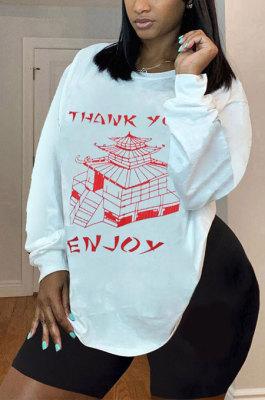 White Big Yards Digital Print Autumn Winter Loose Long Sleeve T-Shirt YSH6174
