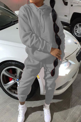 Gray Modest Casual Long Sleeve Hoodie Sweat Pants Solid Color Two-Piece YSH6199-7