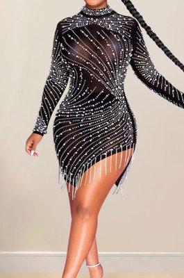 Black Night Club Mesh See-Through Hot Drilling Tassel Long Sleeve Round Collar Slim Fitting Mini Dress XZ5216-1