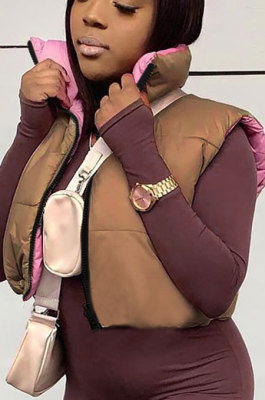 Women Contrast Color Variety Style Sleeveless Tanks Casual Padded Jacket FWB21TP483