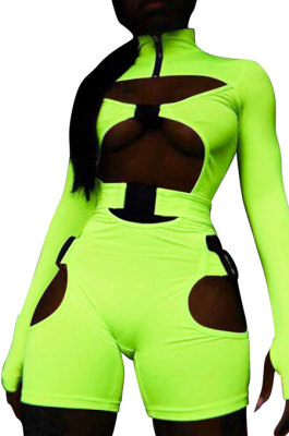 Neon Green Women Club Wear Hollow Out Solid Color Buckle Long Sleeve Sexy Romper Shorts Q940-5