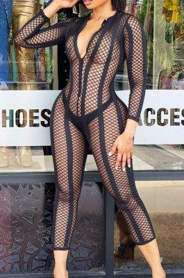 Black Sexy Gridding See-Through Long Sleeve Zipper Collcet Waist Bodycon Jumpsuits ALS263-3