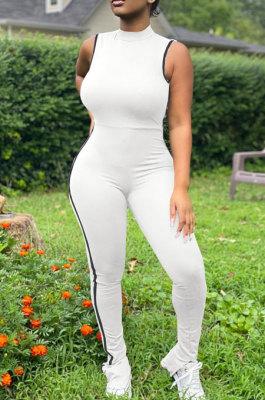 White Summer Edge Strip Spliced Sleeveless O Neck Collcet Waist Zip Back Split Sport Jumpsuitts FH159-2