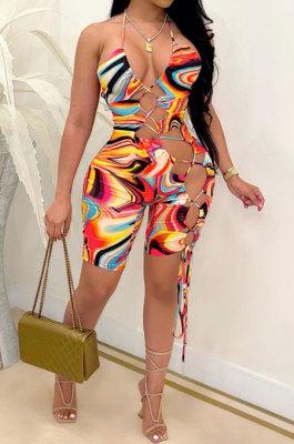 Orange Women Sexy Condole Blet Tie Dye Bandage Hallter Neck Hollow Out Digital Printing Romper Shorts ZZ2131-2