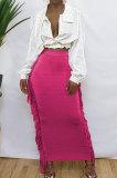 Orange Black Cute Two Side Tassel Long Skirts MTY6538-5