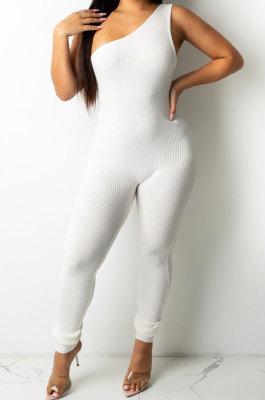 White Women Oblique Shoulder Condole Belt Eyelet Bandage Pure Color Bodycon Jumpsuits LD81045-2