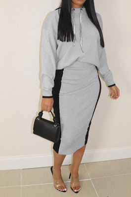 Gray Black Casual Spliced Long Sleeve Hoodie Jumper Wrap Skirts Two-Piece P8613