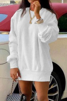 White Euramerican Women Pure Color Long Sleeve Round Collar Loose Waist Mini Dress AMM8365-1