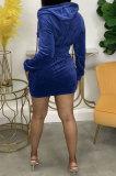 Blue Women Fashion Long Sleeve Solid Color Zipper Hooded Tops Korea Velvet Pocket Skirts Sets AA5278-5