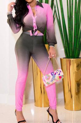 Pink Wholesal Gradient Long Sleeve Lapel Neck Single-Breasted Shirts Pencil Pants Sets SM9200-3