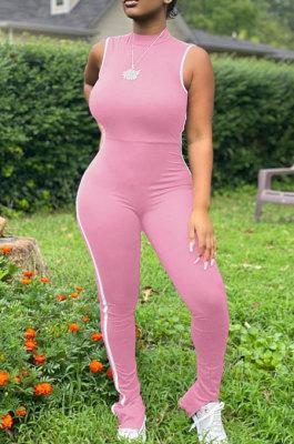 Pink Summer Edge Strip Spliced Sleeveless O Neck Collcet Waist Zip Back Split Sport Jumpsuitts FH159-5